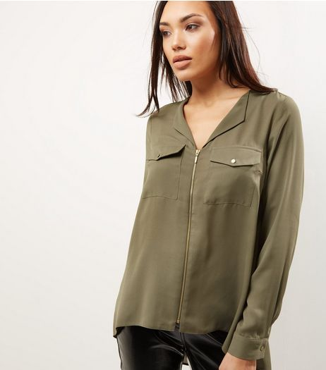 Khaki Zip Front Long Sleeve Shirt  | New Look