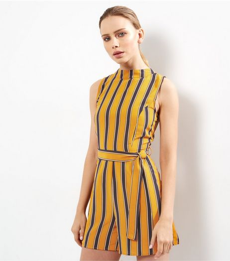 Yellow Stripe High Neck Sleeveless Playsuit  | New Look