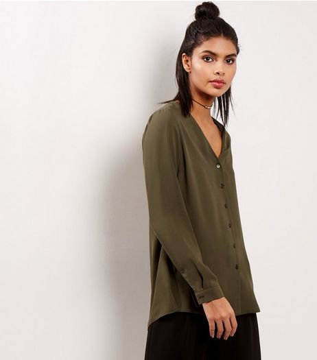 Khaki Split Back Shirt | New Look