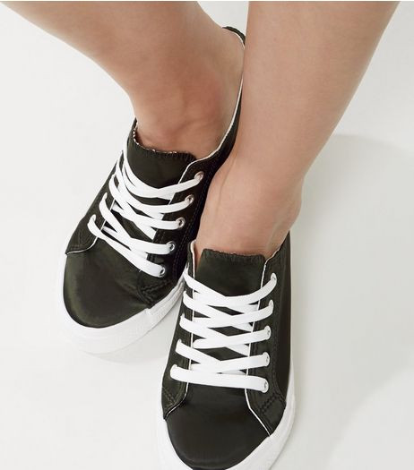 Wide Fit Dark Green Platform Lace Up Trainers | New Look