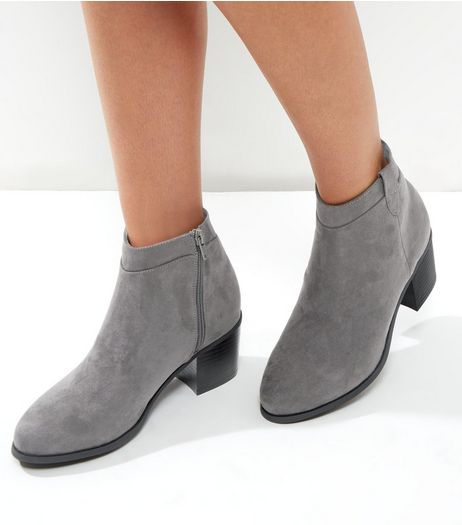 Wide Fit Grey Suedette Western Ankle Boots | New Look