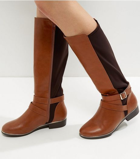 Wide Fit Tan Metal Trim Knee High Boots | New Look