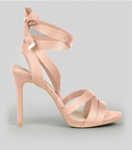 Wide Fit Nude Pink Satin Tie Up Strappy Heels | New Look