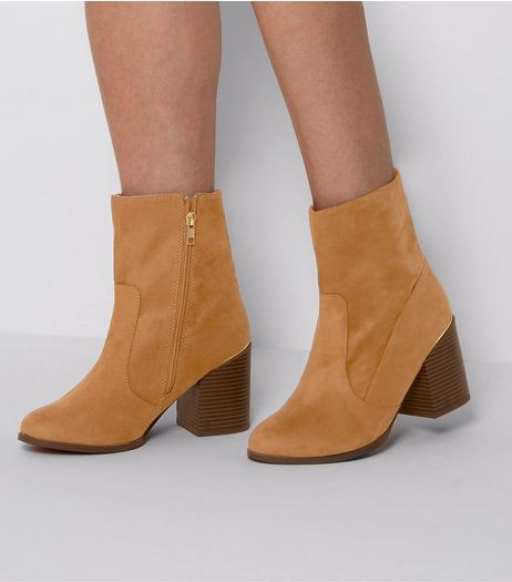 Wide Fit Tan Suedette Metal Trim Block Heel Boots | New Look