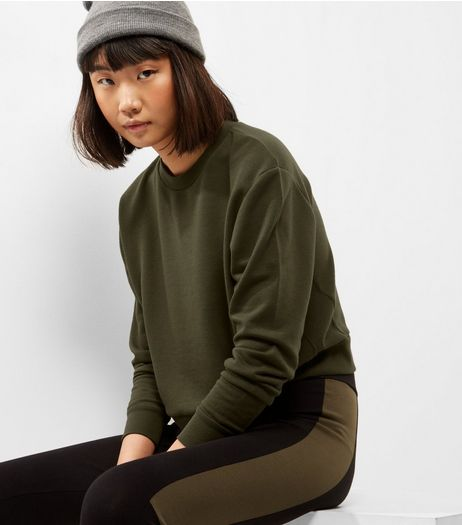 Khaki Ribbed Long Sleeve Cropped Sweater  | New Look