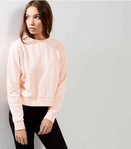 Shell Pink Ribbed Long Sleeve Cropped Sweater  | New Look