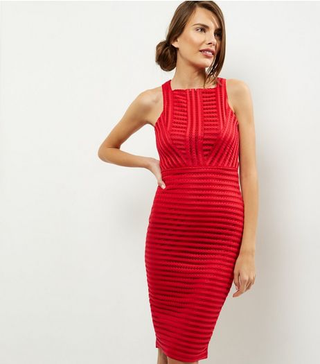AX Paris Red Ladder Sleeveless Midi Dress  | New Look