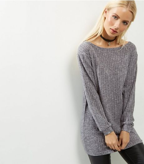 AX Paris Grey Knitted Longline Top  | New Look