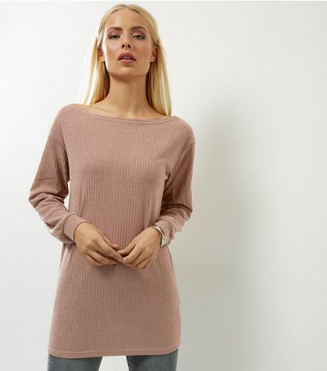 AX Paris Light Brown Knitted Longline Top  | New Look