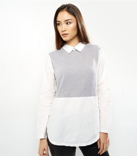 AX Paris Grey Colour Block 2 in 1 Top  | New Look