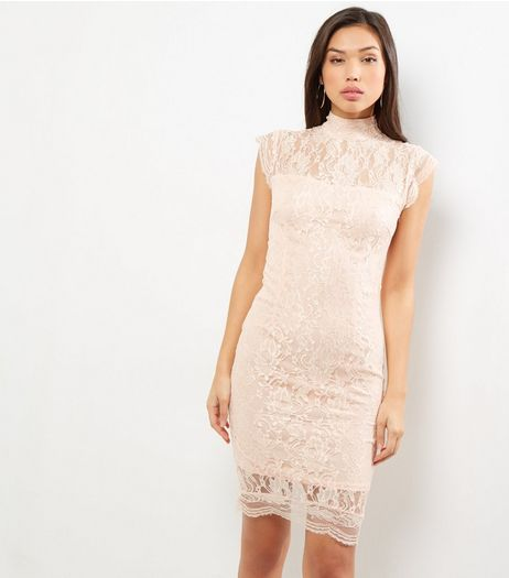 AX Paris Shell Pink Lace Funnel Neck Sleeveless Dress | New Look
