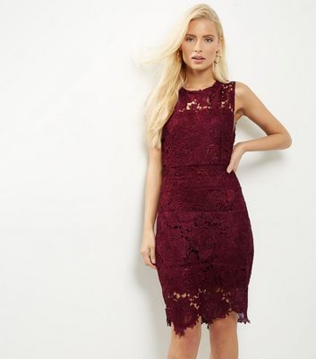 AX Paris Dark Red Crochet Lace Bodycon Dress