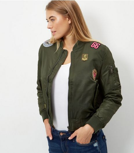 Blue Vanilla Khaki Badge Print Bomber Jacket | New Look