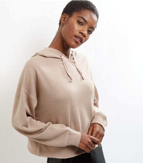 Stone Drop Sleeve Cropped Hoodie | New Look