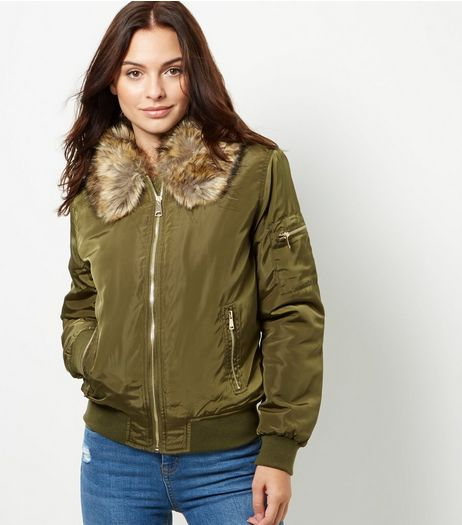 Parisian Khaki Puffa Bomber Jacket | New Look