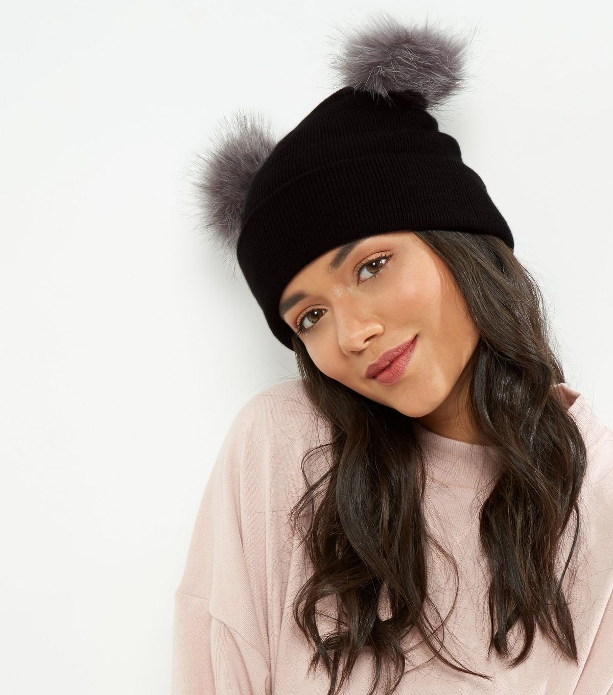 Black Faux Fur Pom Pom Beanie | New Look