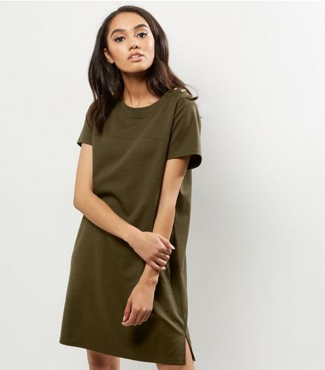 Petite Khaki Button Shoulder Detail Tunic Dress | New Look