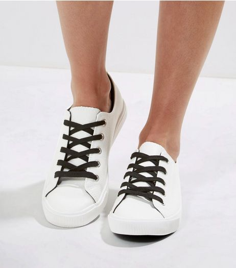 White Contrast Lace Up Shoes | New Look