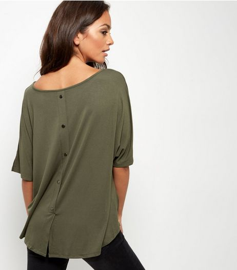 Khaki Oversized Button Back T-Shirt | New Look