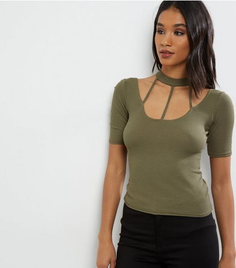 Khaki Ribbed Strap Front Choker Neck Top  | New Look