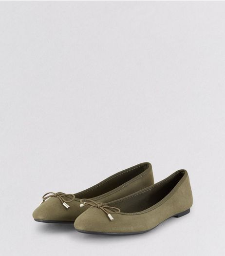 Khaki Suedette Bow Front Ballet Pumps | New Look