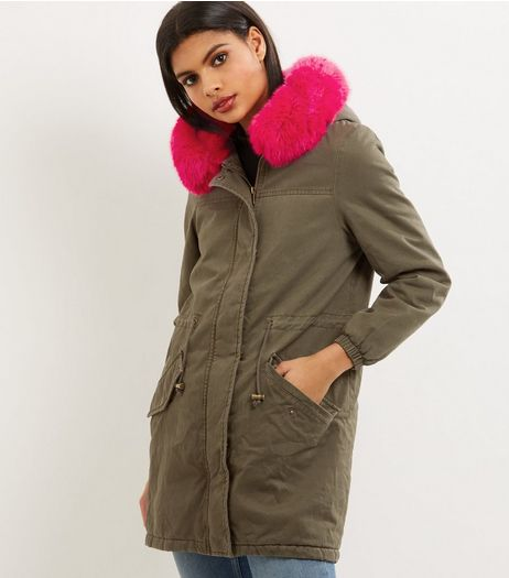 Khaki Contrast Faux Fur Lined Parka  | New Look