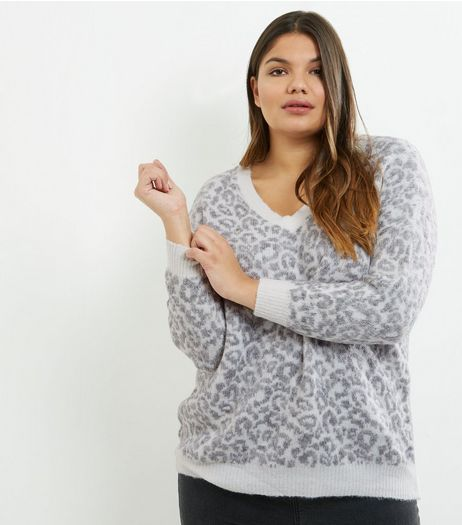 Curves Grey Animal Print V Neck Jumper | New Look