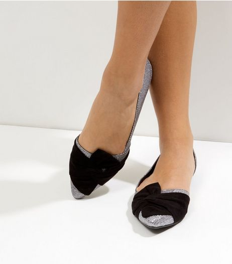 Silver Glitter Contrast Bow Front Cut Out Pumps | New Look