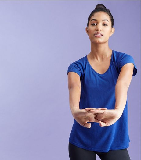 Blue Bar Back Mesh Sports T-Shirt  | New Look