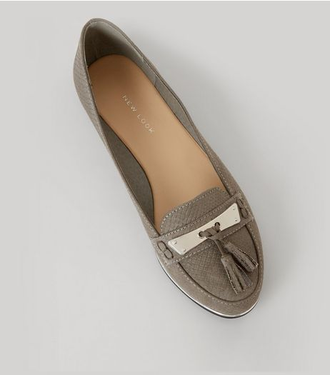Grey Textured Metal Bar Front Tassel Detail Loafers | New Look