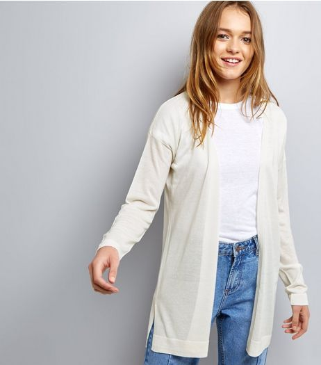 White Longline Cardigan | New Look