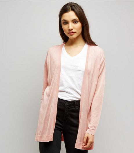 Shell Pink Open Front Cardigan  | New Look