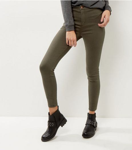 Khaki High Waist Super Skinny Hallie Jeans  | New Look