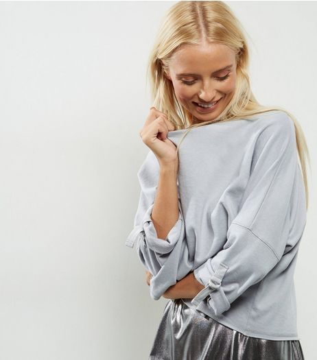 Pale Grey D Ring Rolled Batwing Sleeve Sweater  | New Look