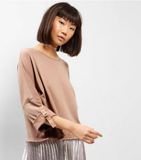 Stone Batwing Roll Sleeve Sweater  | New Look