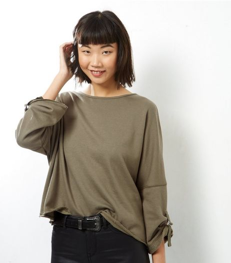 Khaki Batwing Roll Sleeve Sweater  | New Look