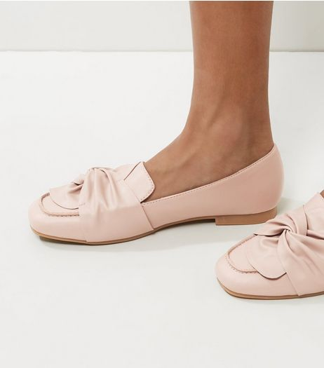 Nude Pink Knot Front Loafers | New Look