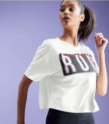 White Run Print Short Sleeve Sports Crop Top | New Look