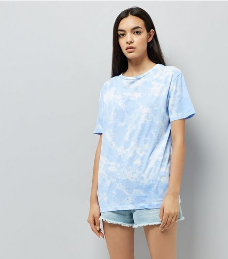 Blue Tie Dye Boyfriend T-Shirt | New Look