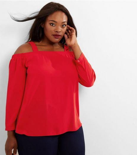 Curves Red Bardot Neck Cold Shoulder Top | New Look