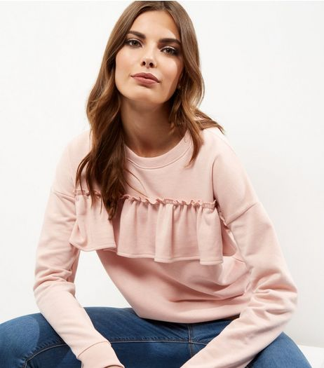 Shell Pink Frill Trim Long Sleeve Sweater  | New Look