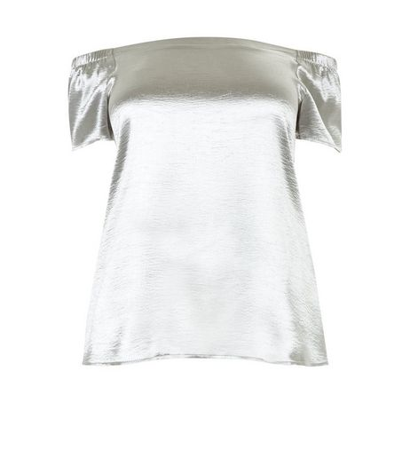 Curves Silver High Shine Sateen Bardot Neck Top  | New Look