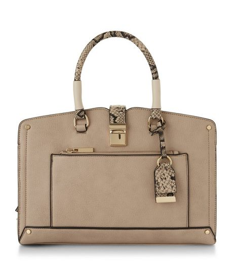 Cream Colour Block Snakeskin Handle Tote Bag | New Look