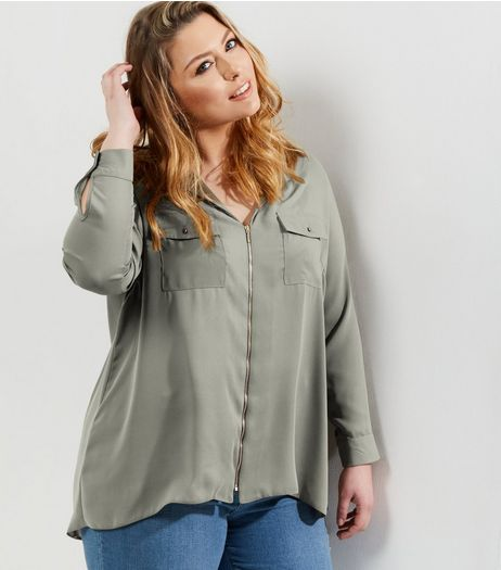 Curves Khaki Zip Front Shirt  | New Look