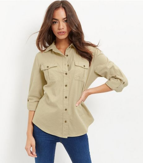 Apricot Stone Military Shirt  | New Look