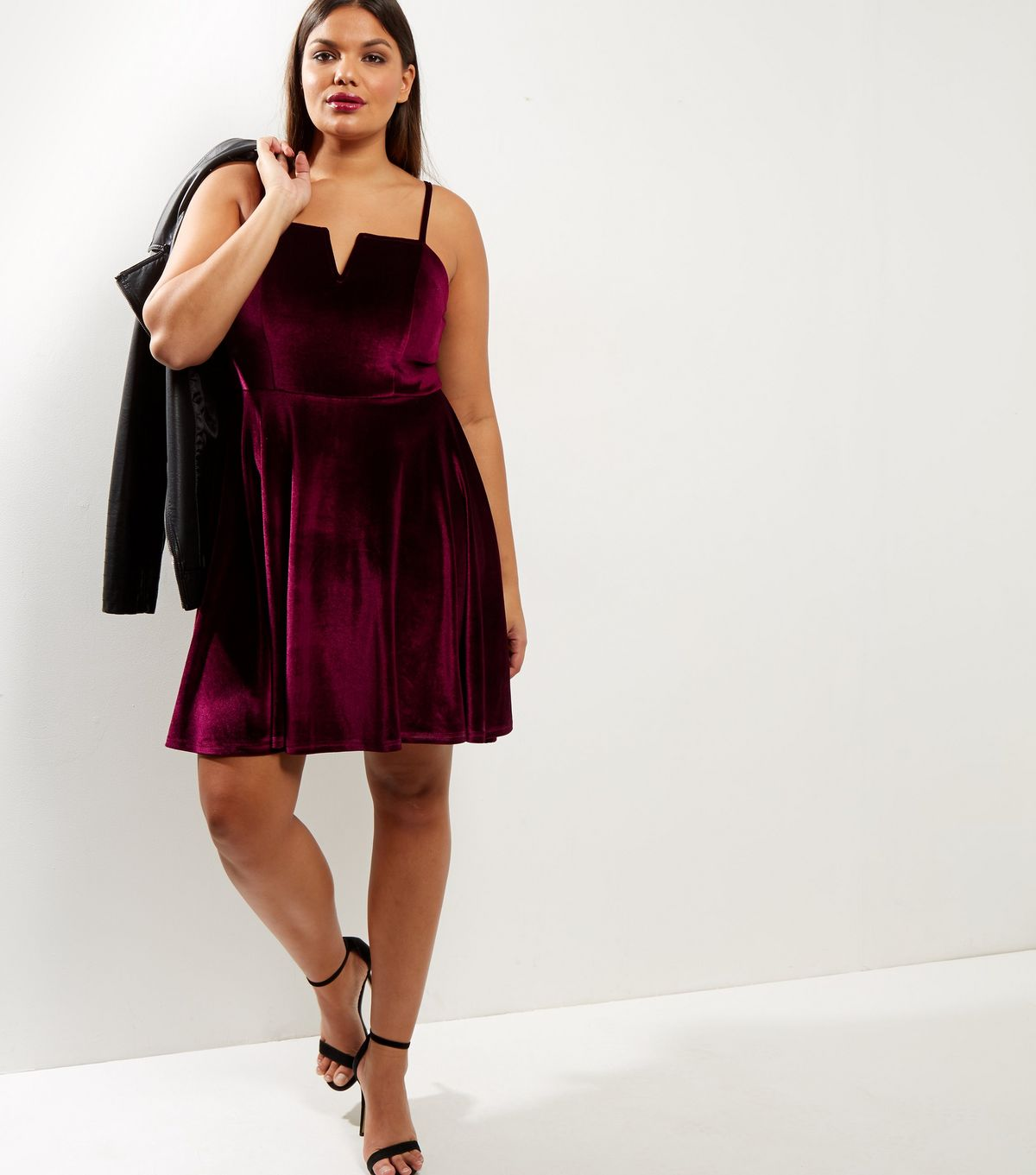 Curves Burgundy Velvet Skater Dress | New Look