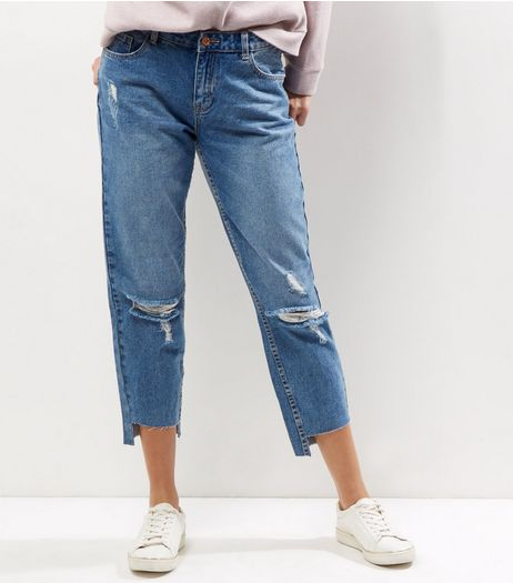 Blue Ripped Step Hem Boyfriend Jeans  | New Look