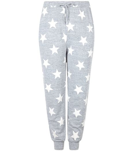 Curves Light Grey Star Print Joggers | New Look