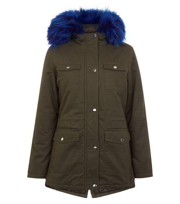 Teens Khaki Contrast Faux Fur Trim Hooded Parka