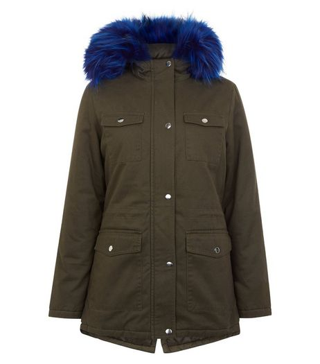 Teens Khaki Contrast Faux Fur Trim Hooded Parka | New Look